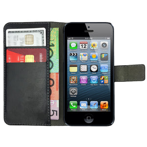 Leather Flip Wallet and Stand Case For Apple iPhone SE