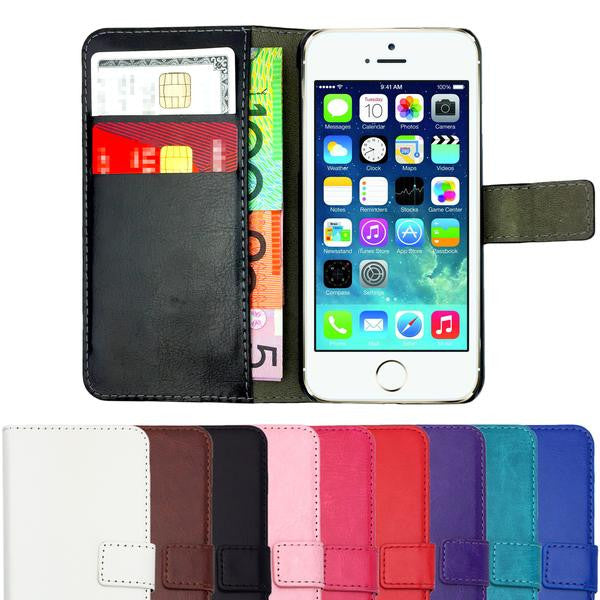 Leather Flip Wallet and Stand Case For Apple iPhone 4 / 4S