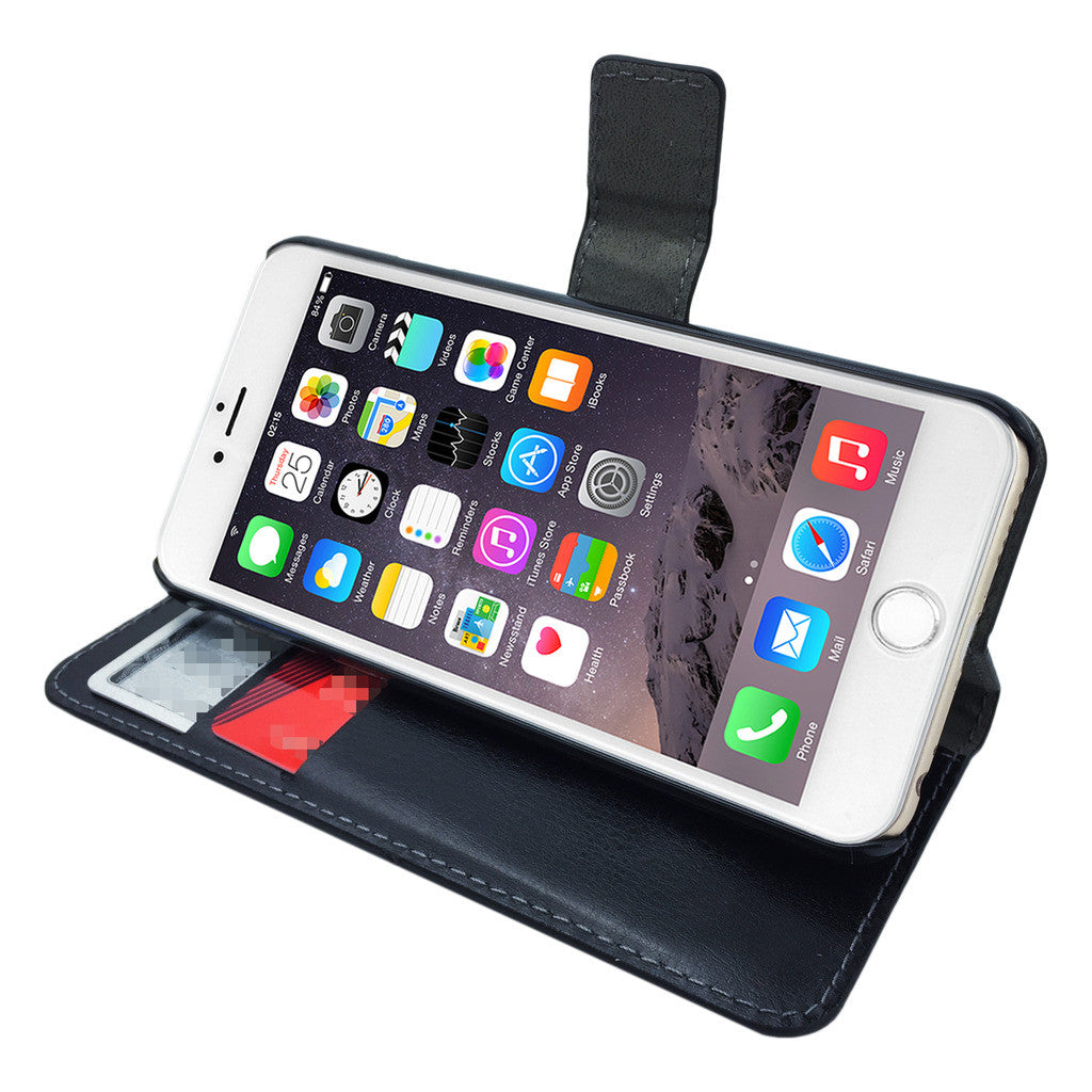 Leather Flip Wallet and Stand Case For Apple iPhone 8 Plus