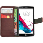 Leather Flip Wallet and Stand Case for LG G4