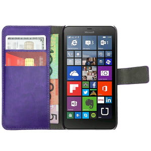 Leather Flip Wallet and Stand Case for Nokia Lumia 640 XL