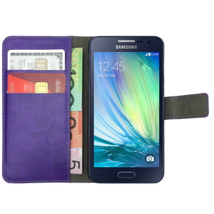 Leather Flip Wallet and Stand Case for Samsung Galaxy J1