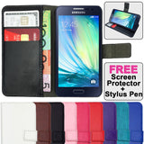 Leather Flip Wallet and Stand Case for Samsung Galaxy A3