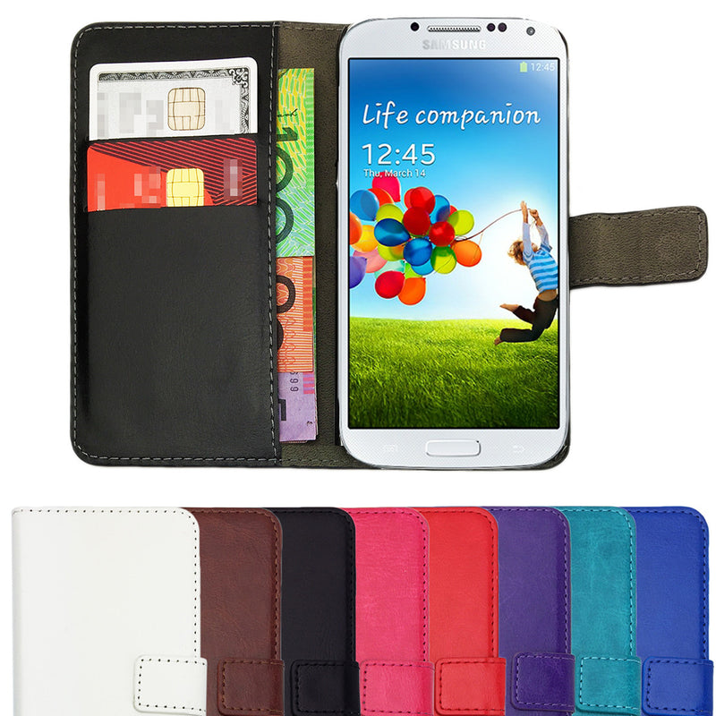 Leather Flip Wallet and Stand Case For Samsung Galaxy S4