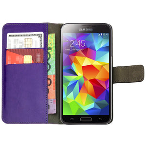 Leather Flip Wallet and Stand Case For Samsung Galaxy S5