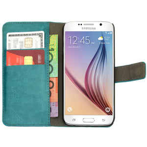 Leather Flip Wallet and Stand Case For Samsung Galaxy S6