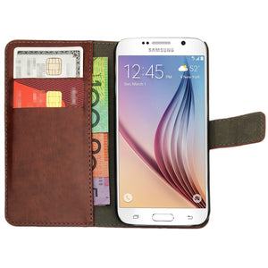 Leather Flip Wallet and Stand Case For Samsung Galaxy S6 Edge