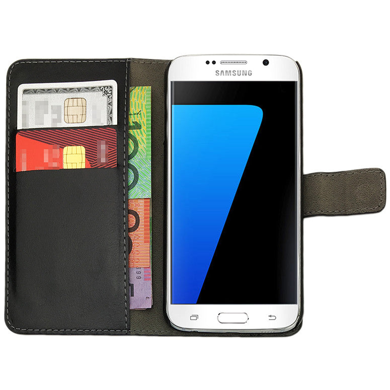 Leather Flip Wallet and Stand Case For Samsung Galaxy S7