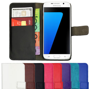 Leather Flip Wallet and Stand Case For Samsung Galaxy S7 Edge