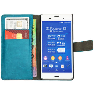 Leather Flip Wallet and Stand Case For SONY Xperia Z3 Compact