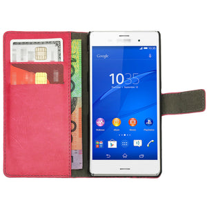 Leather Flip Wallet and Stand Case For SONY Xperia Z3
