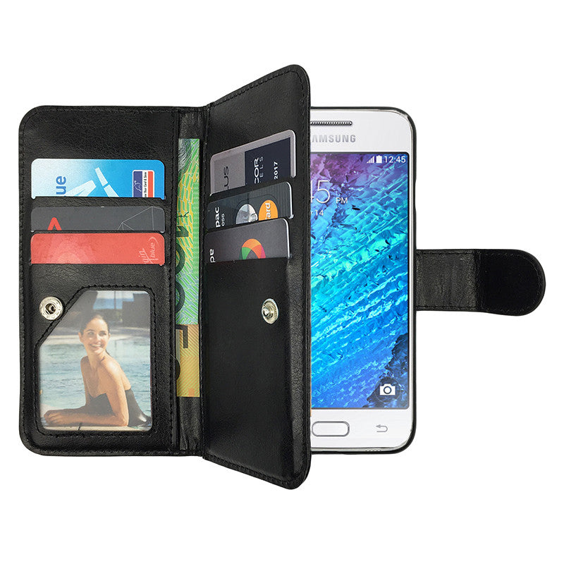 Leather Wallet Case Magnetic Flip Gel Cover for Samsung Galaxy J1 Mini