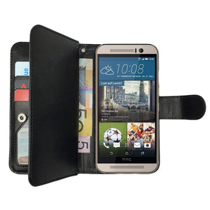 Leather Wallet Case Magnetic Flip Gel Cover for HTC One M8