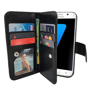 Leather Wallet Case Magnetic Flip Gel Cover for Samsung Galaxy S7