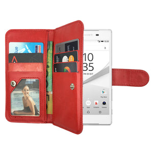 Leather Wallet Case Magnetic Flip Gel Cover for Sony Xperia Z5