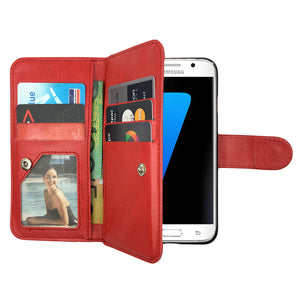 Leather Wallet Case Magnetic Flip Gel Cover for Samsung Galaxy S7 Edge