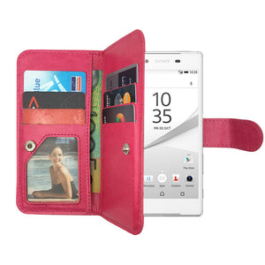 Leather Wallet Case Magnetic Flip Gel Cover for Sony Xperia Z3