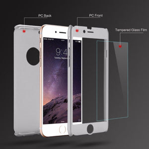 360 Hybrid Shockproof Case Cover Tempered Glass for Samsung S7