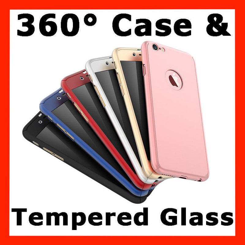 360 Hybrid Shockproof Case Cover Tempered Glass for Apple iPhone 6