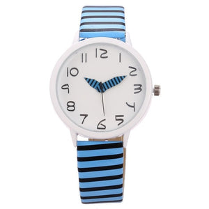 Quartz Casual 4cm Round s 3 Sport 33inch Dial Running Buckle Unisex Synthetic etc 1 Watch Striped Analog Wrist Leather Band