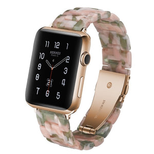 Pink Green Resin Replacement Watch Band For Apple Watch 38mm or 42mm