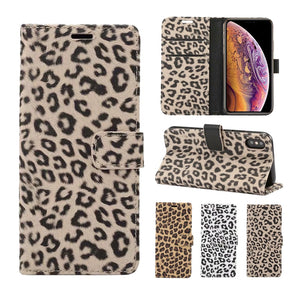 Leather Leopard Wallet Flip Case for iPhone XS, XS Max, XR, X, 8 Plus, 8, 7 Plus, 7, 6 Plus, 6, 6s Plus, 6s and 6