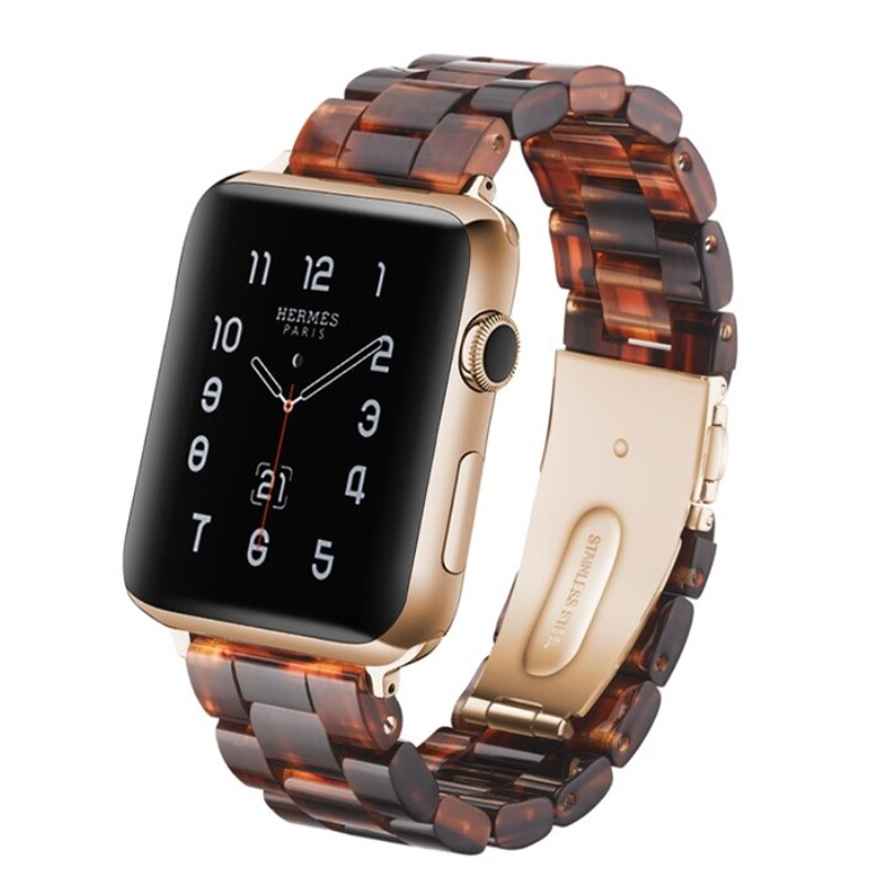Deep Brown Resin Replacement Watch Band For Apple Watch 38mm or 42mm