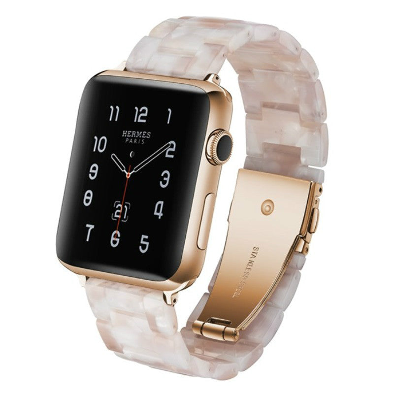 Beige Resin Replacement Watch Band For Apple Watch 38mm or 42mm