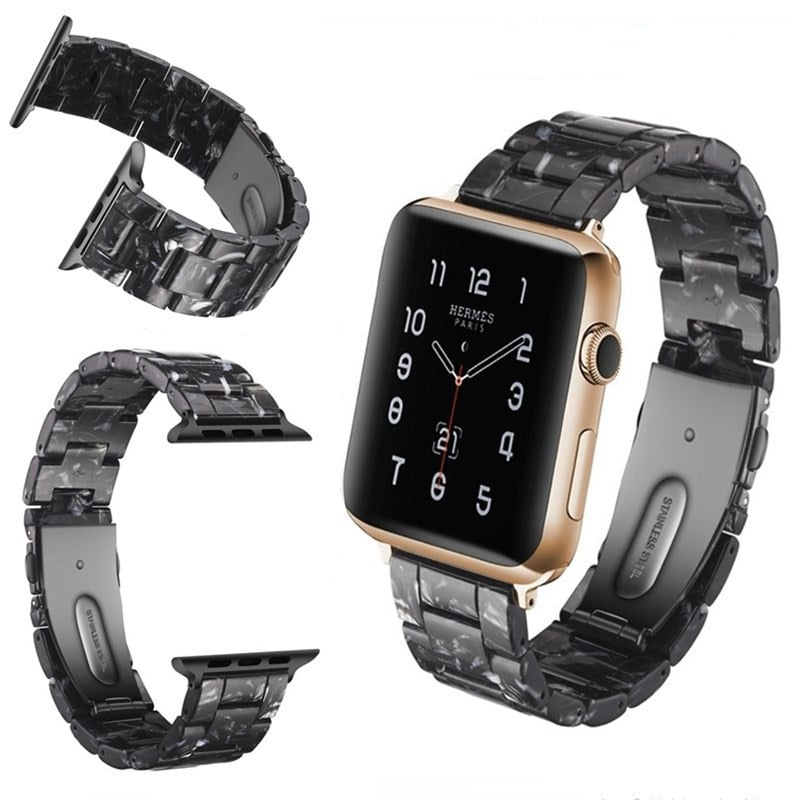 Black Resin Replacement Watch Band For Apple Watch 38mm or 42mm