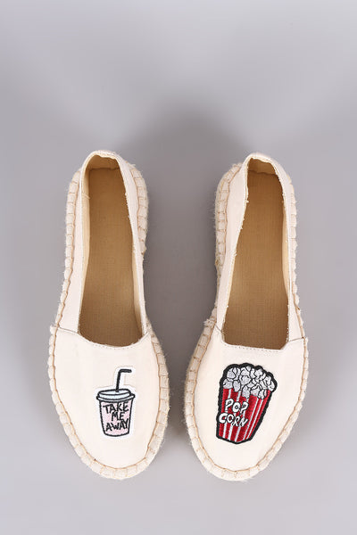 Bamboo Canvas Fun Patches Espadrille Flat