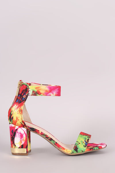 Bamboo Abstract Watercolor Ankle Strap Chunky Heel