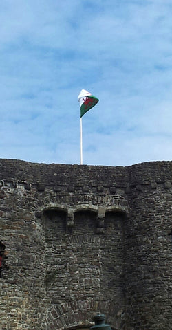 The first flag pole to have ever been installed and flag flow over the tower at Carmarthen Castle, by Red Dragon Flagmakers