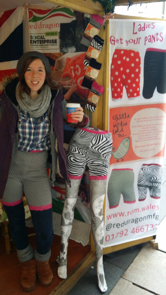 Cardiff christmas market 2015. glory pants, fancy pants, circus pants, british pants. be prepared. red dragon manufacturing