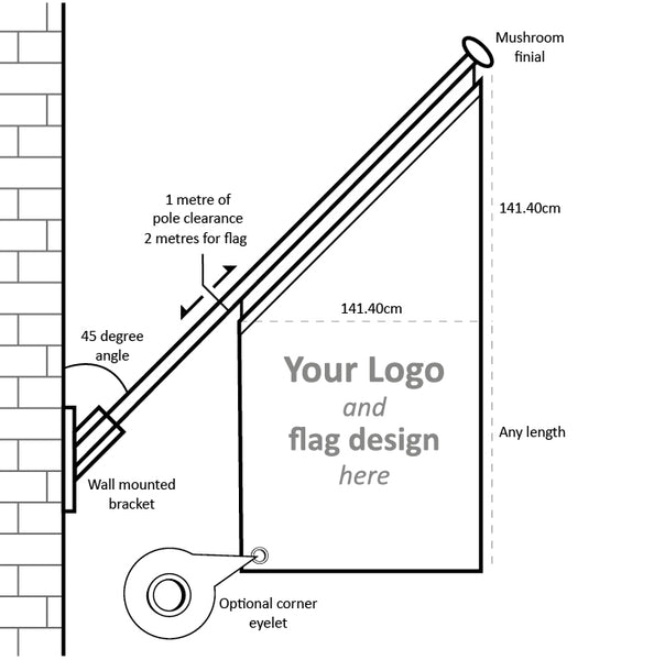 Wall mounted 45 degree flag pole with sizes