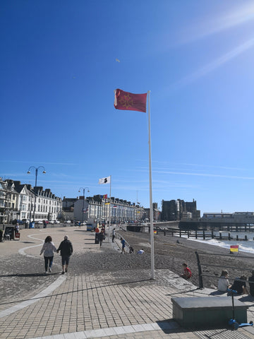 Romany flag Aberystwyth promenade 2018 Red Dragon Flagmakers