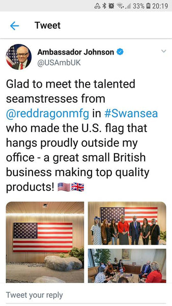 US Ambassador Johnson tweet commendation of Red Dragon Flagmakers September 2018