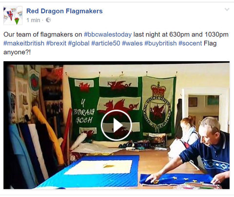 BBC Wales today, interview on Brexit and the triggering of Article 50 at Red Dragon Flagmakers