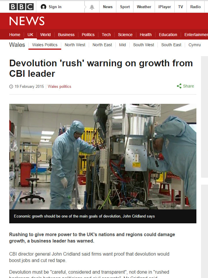 BBC Radio Wales Devolution 'rush' warning on growth from CBI leader