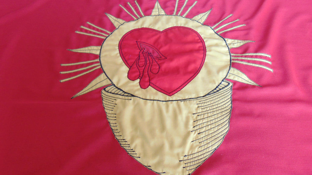 Closeup of stitched ecclesiastical flag by Red Dragon Flagmakers