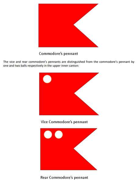 Commodore pennant flag shapes Red Dragon Flagmakers