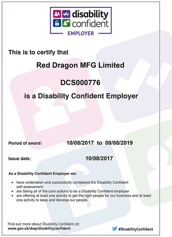 Disability confident certificate Red Dragon
