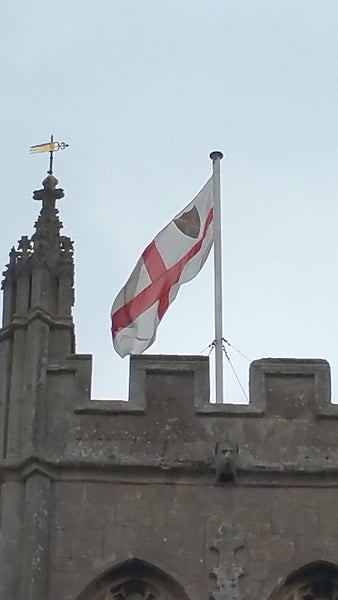 Glastonbury Church tower flagpole by Red Dragon Flagmakers