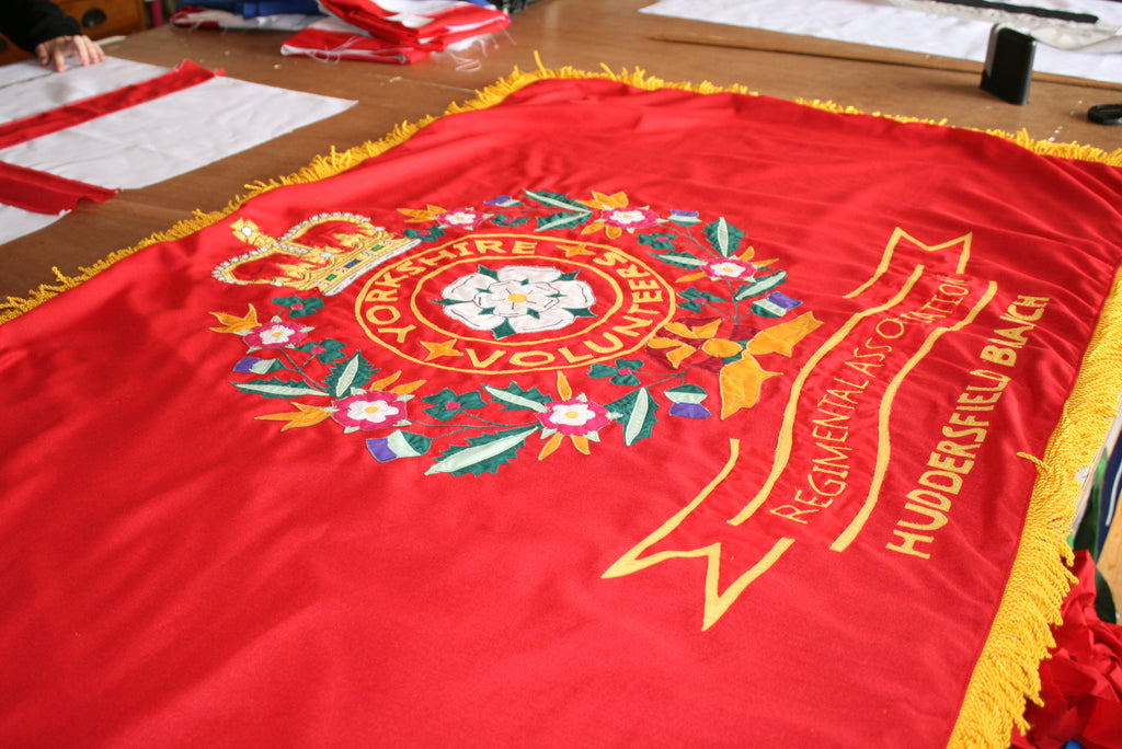 Stitched ceremonial flag with gold bullion fringe by Red Dragon Flagmakers