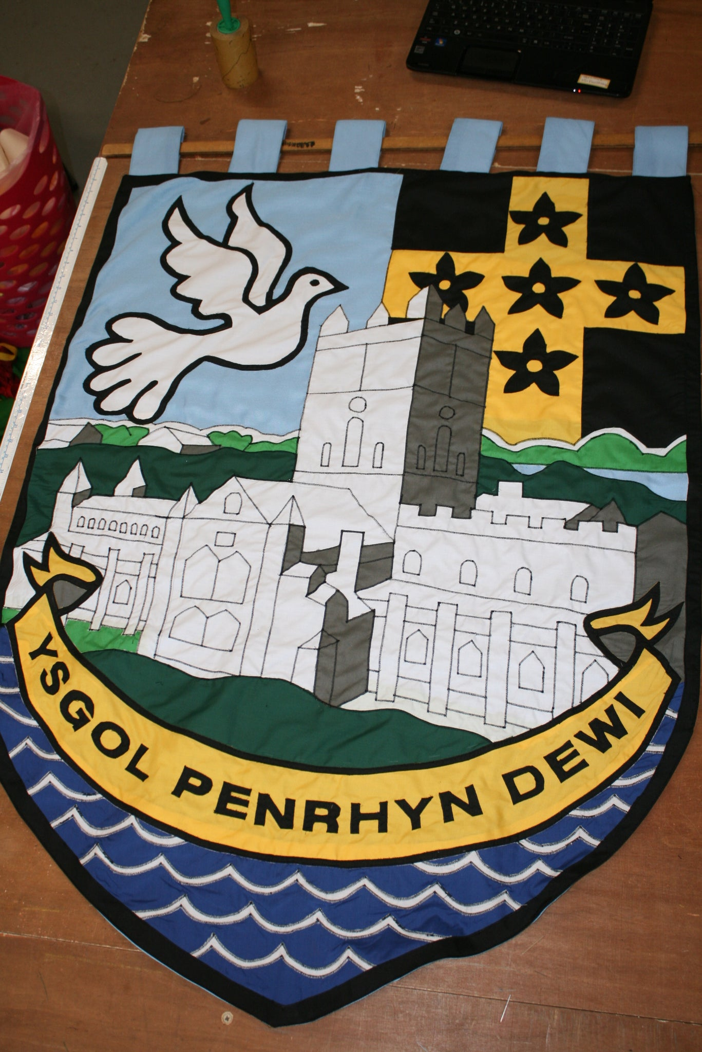 Ysgol dewi sant vexillum gonfalon school banner by Red Dragon Flagmakers