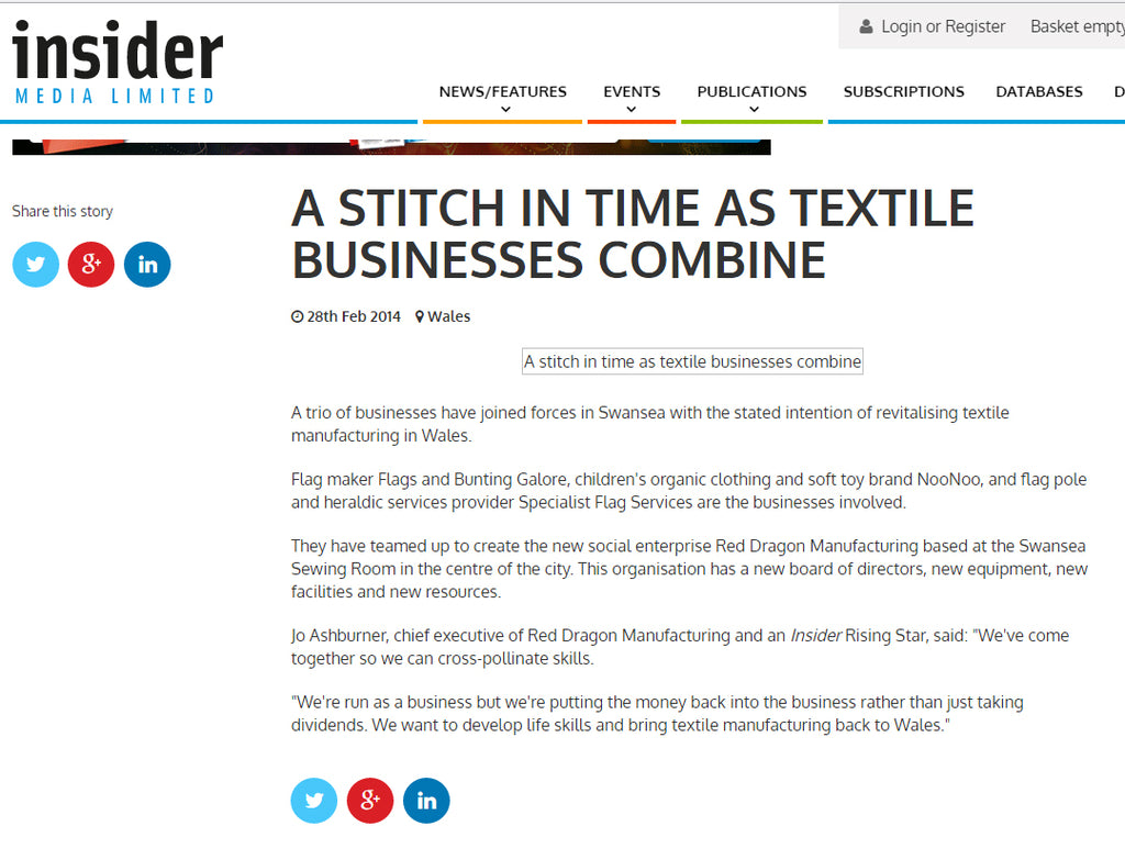 Insider, Red Dragon Flagmakers, Jo Ashburner, Textile businesses combine