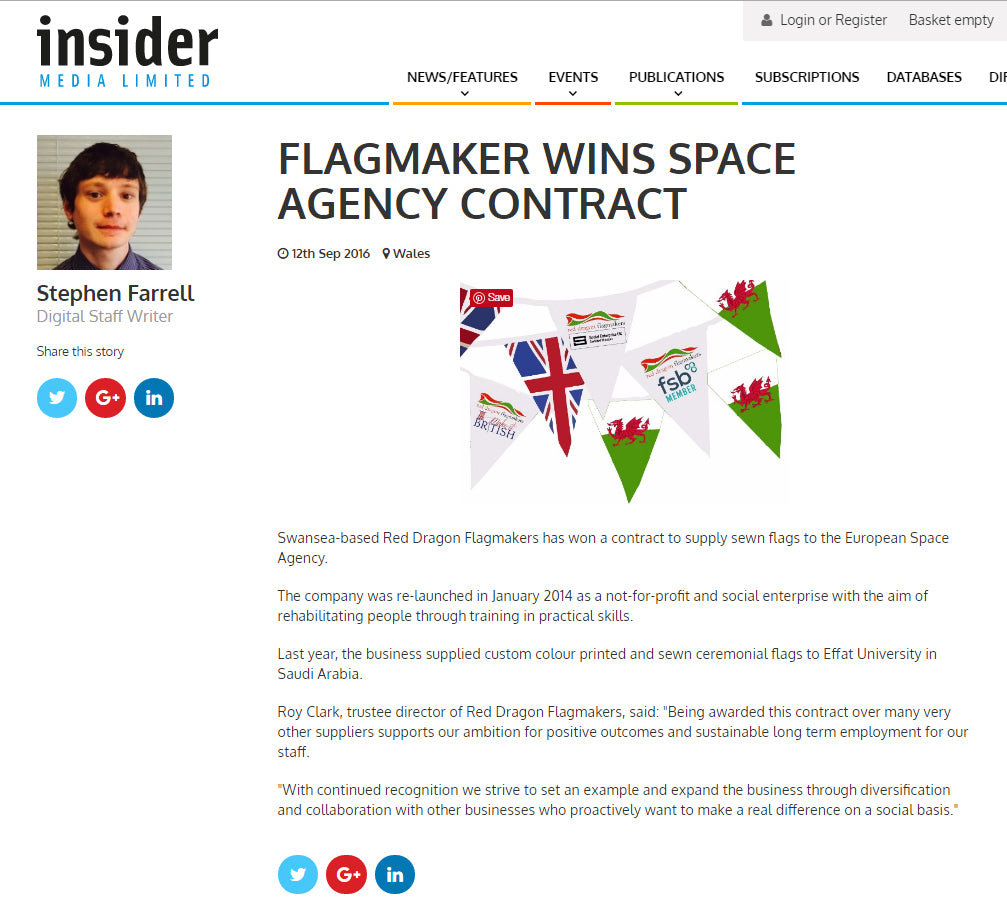 Insider magazine Red Dragon Flagmakers European Space Agency contract