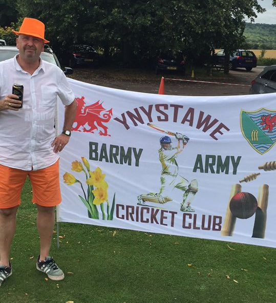 Custom design and printed cricket supporters flag by Red Dragon Flagmakers