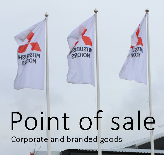 Point of sale corporate and branded flags Red Dragon Flagmakers