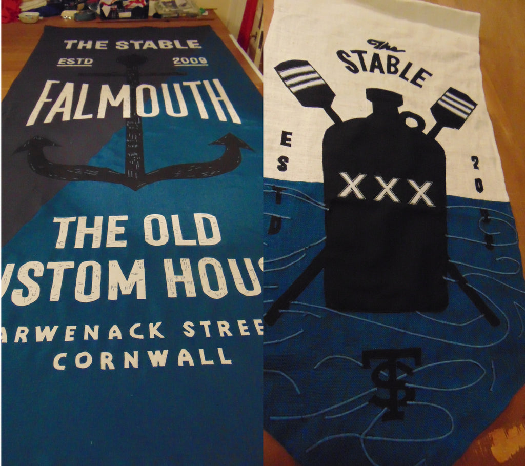 Stitched banners for The Stables restaurant Falmouth by Red Dragon Flagmakers
