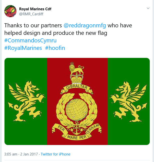 Royal Marines Cardiff flag designed by Red Dragon Flagmakers
